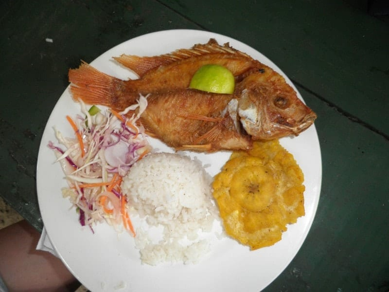 Caribbean coast of Colombia in two weeks - Hungry in Santa Marta? Enjoy the fried fish with coconut rice and the and patacones (fried cooked bananas)