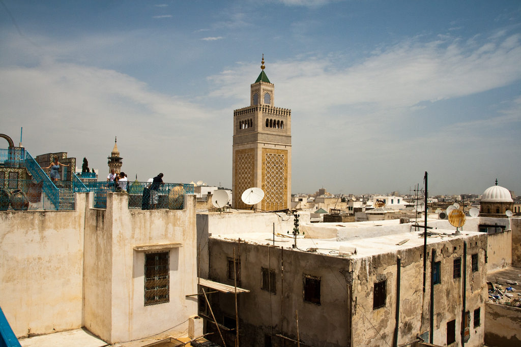 The minaret of the Zeitouna mosque in Tunis