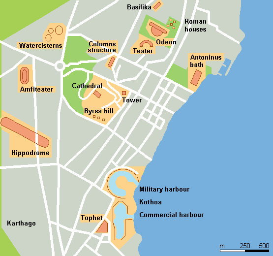 Map for Carthage for two days in Tunis