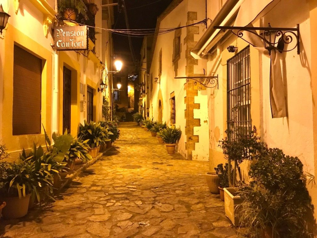 Tossa de Mar old town by night