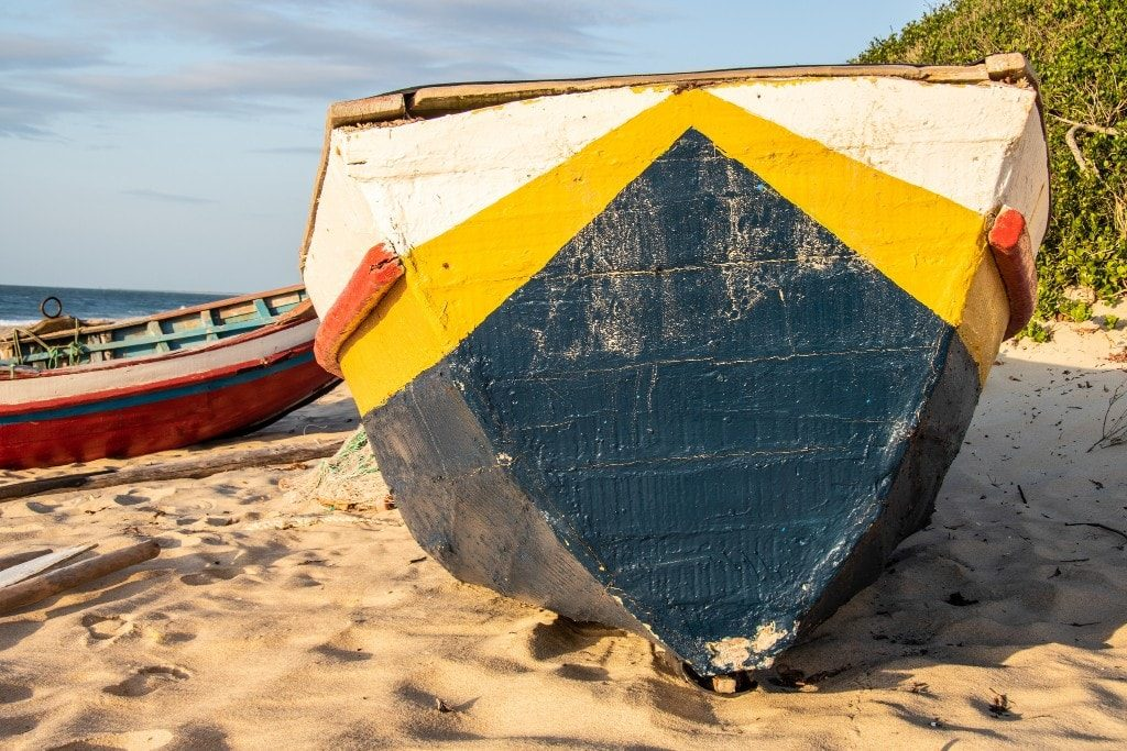 Attractions near Maputo Mozambique - fishing boat on a beach in Macaneta