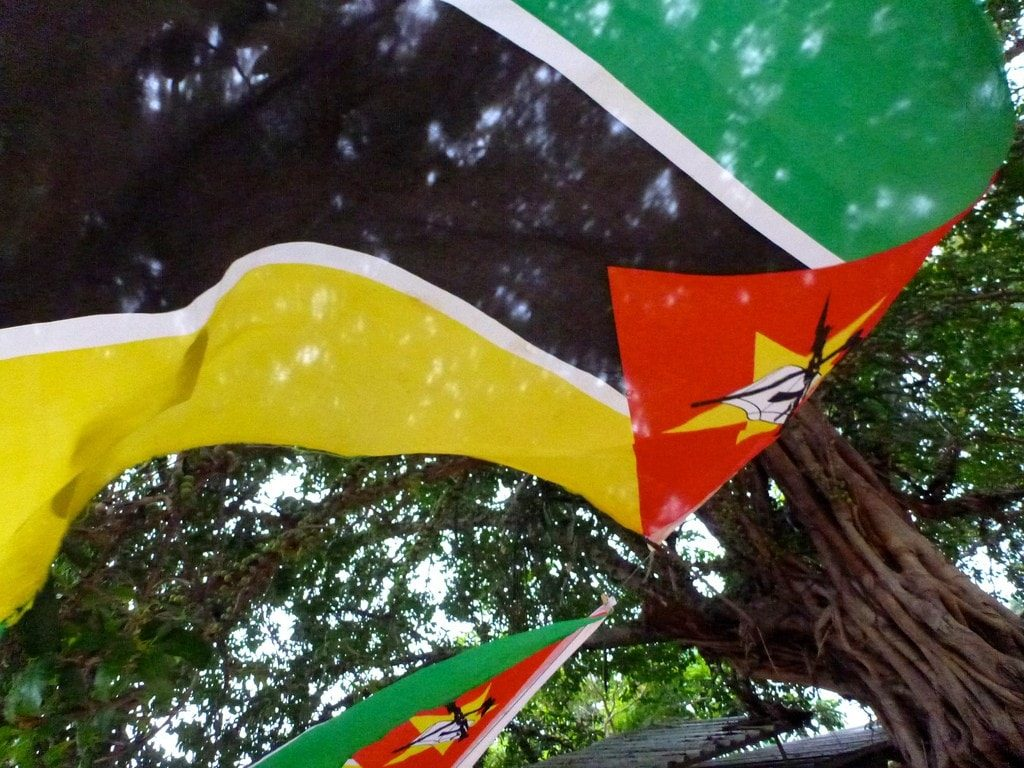 Things to see in Maputo - the flag of Maputo with an AK47