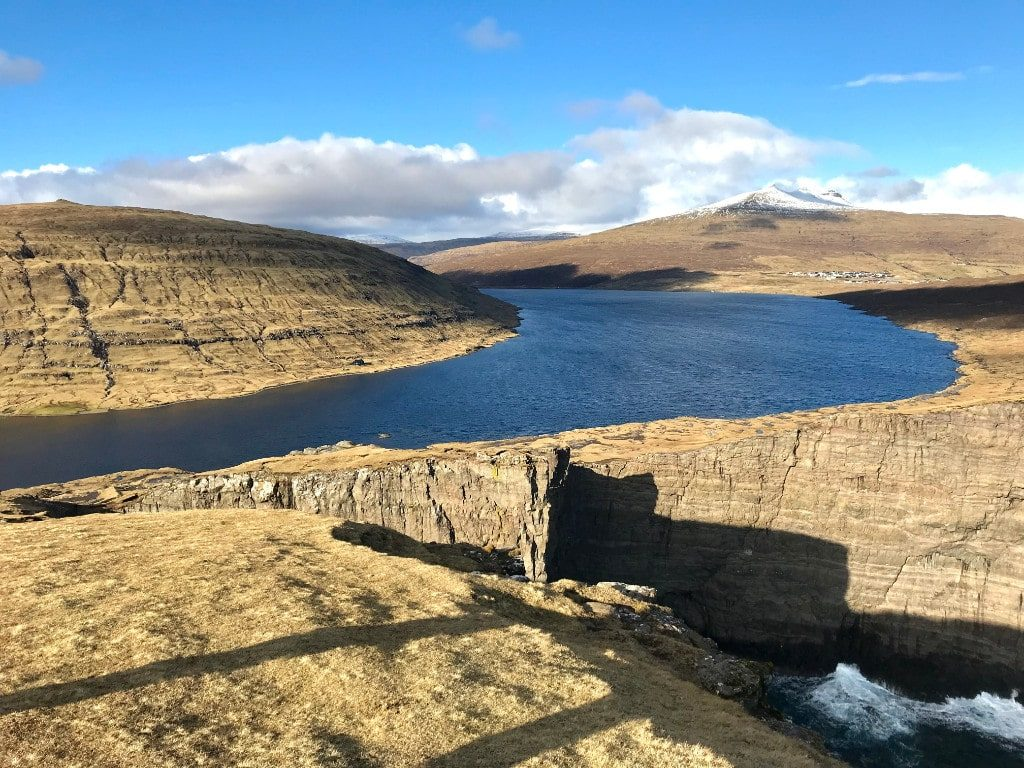 The view of Lake Sorvagsvatn over the ocean one of the main sights of Faroe Islands