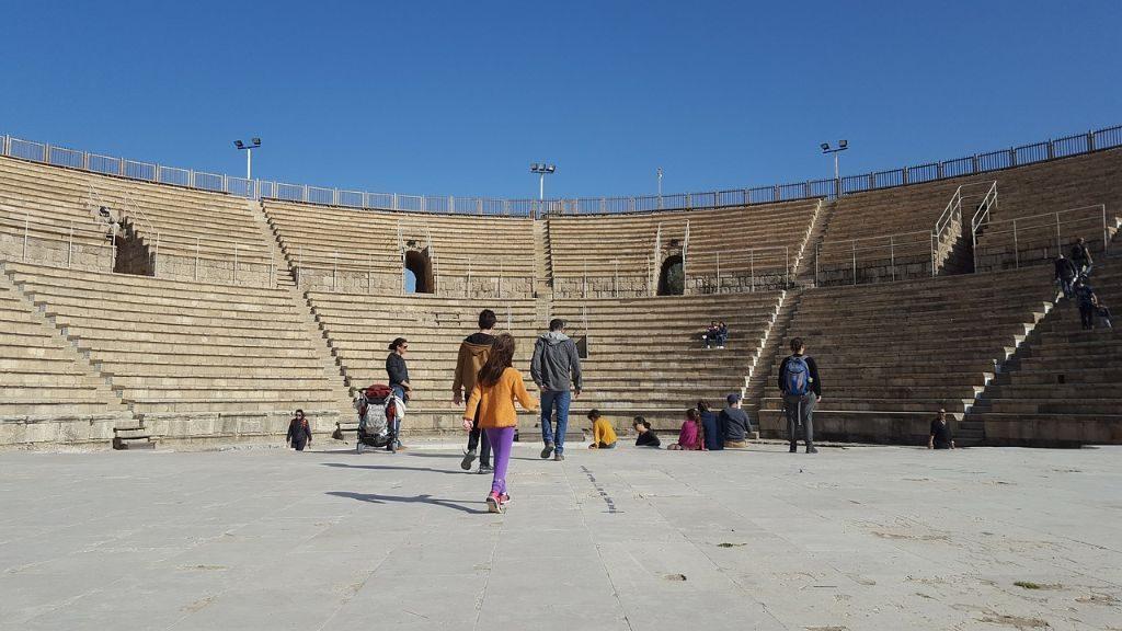 The oval Roman Stadium in Caesarea