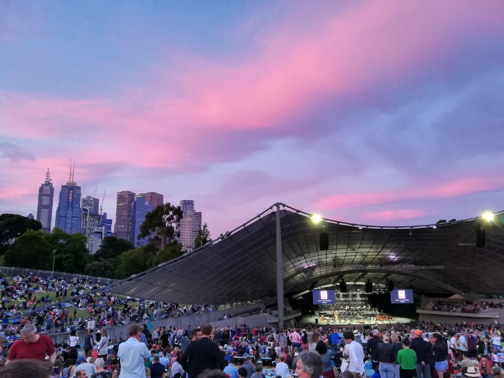 sunset over melbourne sidney myers music bowl