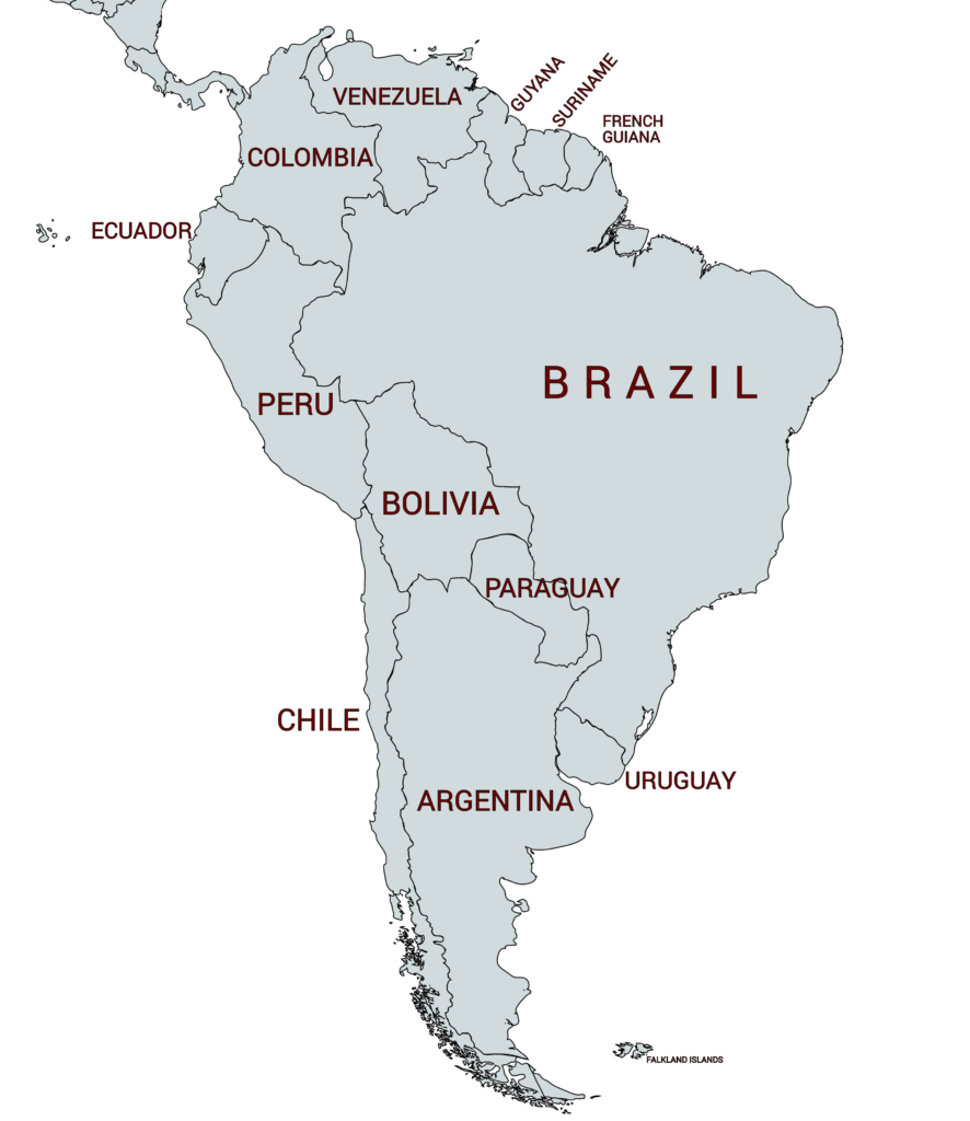 Map of all countries in South America