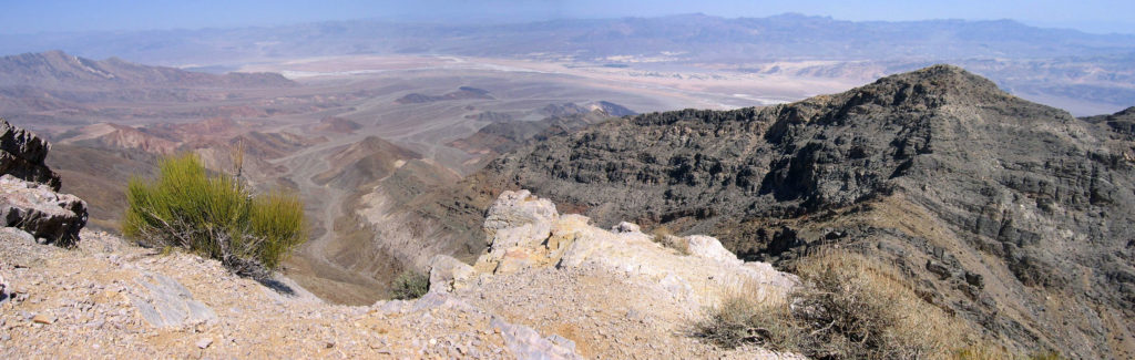 View from Wildrose Peak in Death Valley after hike